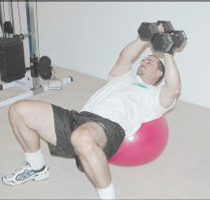 2 Dumbbell Swiss ball Twists
